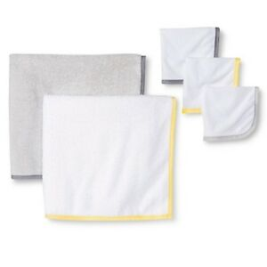 Circo-Baby-Unisex-5-Piece-Gray-Yellow-Bath-Towel-Set-Baby-Clothes-Shower-Gift