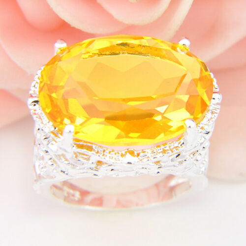 Énorme 42.65Cts Natural Shiny GOLDEN Citrine Gems Silver ring US Taille 7 8 9