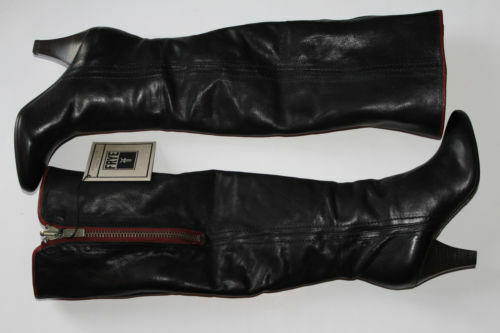 588 Frye Dannika Zip Black Red Leather 2 2 2 in 1 Fold Down Knee High Boots 5.5 M bb6987