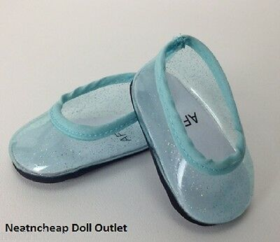 "Fits 18"" American Girl Doll Shoes Teal Blue Glitter Flats Jellies Slippers"