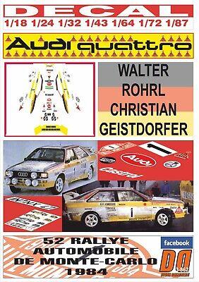 ROHRL TOUR DE CORSE 1984 DnF DECAL AUDI QUATTRO SPORT W 06