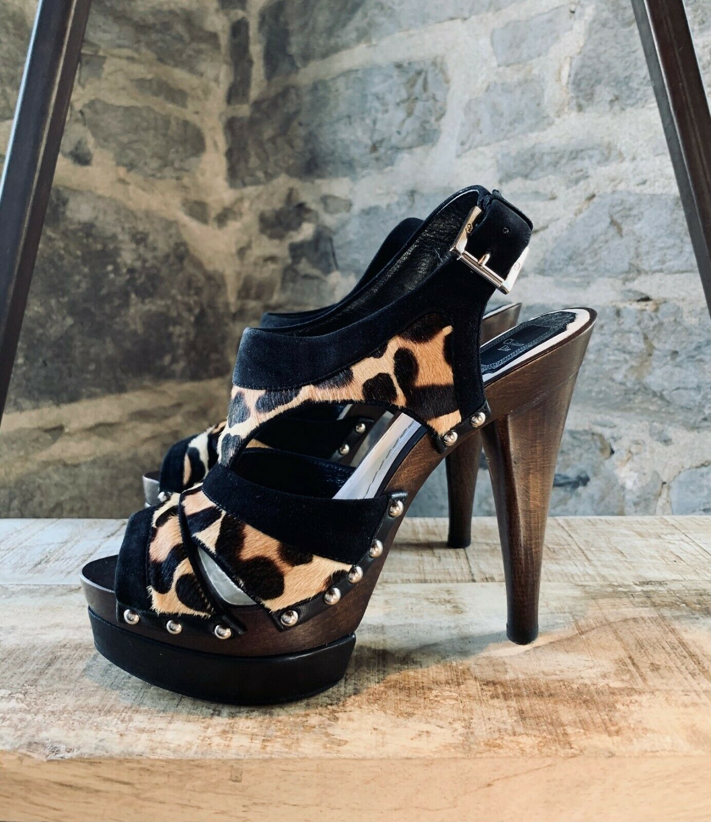 Christian Dior Wood Clog Heel Sandals Leopard Print Print Print - size 8 US - 38 IT d04569