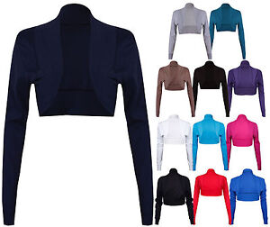 NEW-LADIES-LONG-SLEEVE-STRETCH-BOLERO-SHRUG-WOMENS-TOP