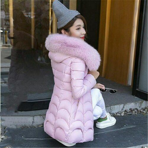 Women/'s Hooded Coat Slim Down Cotton Large Fur Collar Long Outwear Warm Jacket