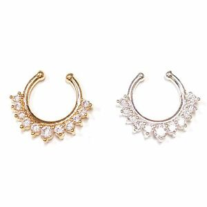Fashion 1X Fake Clip On Non Piercing Crystal Septum Nose Ring Faux Clicker BSC