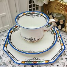 PARAGON STAR FINE BONE CHINA 1910s TRIO CUP SAUCER PLATE SET LONGSDON BLUE TRIM
