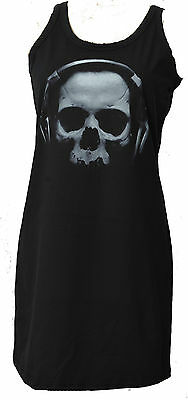 LADIES DRESS SKULL HEADPHONES DANCE MUSIC RAVE GOTHIC HORROR DJ  S_XL