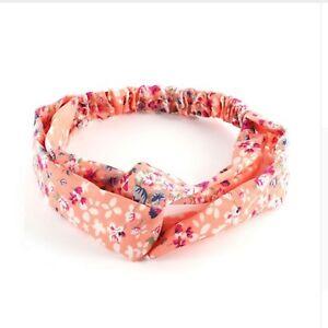 Twist Bandeau élastique Wrap Turban Hair Band Yoga Sports Peach Floral Fleurs-afficher Le Titre D'origine Belle Qualité