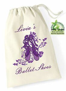 Ballet-Cotton-Draw-String-Shoes-Bag-Sack-Personalised-Purple-Print-Girls-Gift