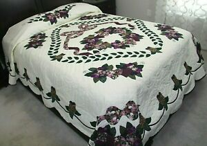 New ~ amish handmade applique quilt ~ lancaster pa. ~ country rose