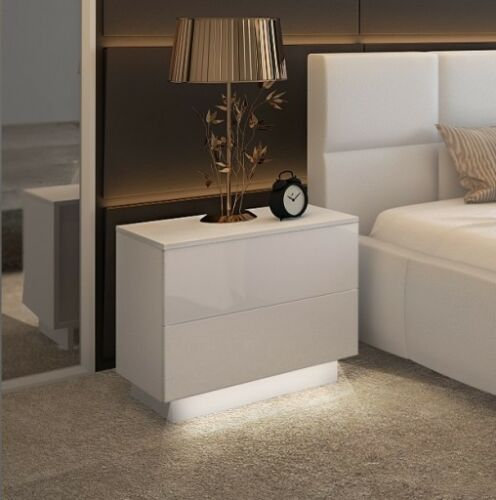 N   2 stk KOMMODE Nachttisch LED Nachtschrank Nachtkonsole Hochglanz Weiß NEV