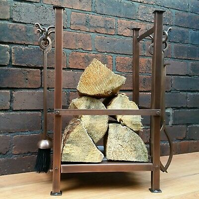 Vernuftig Log Holder With Companion Set Aged Copper Finish Fireside Hearth Display Tools Koel In De Zomer En Warm In De Winter