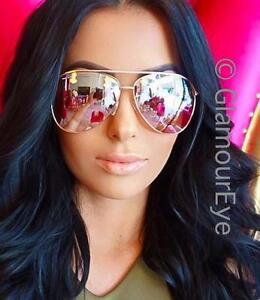 5a241f4ac HOT Large Rose Pink Yellow Light Mirror Gold Metal Frame Aviator ...