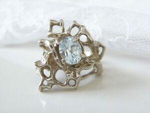 Vintage-Sterling-Silver-925-Brutalist-Modernist-Blue-Topaz-Hand-Cast-Ring-Size-6