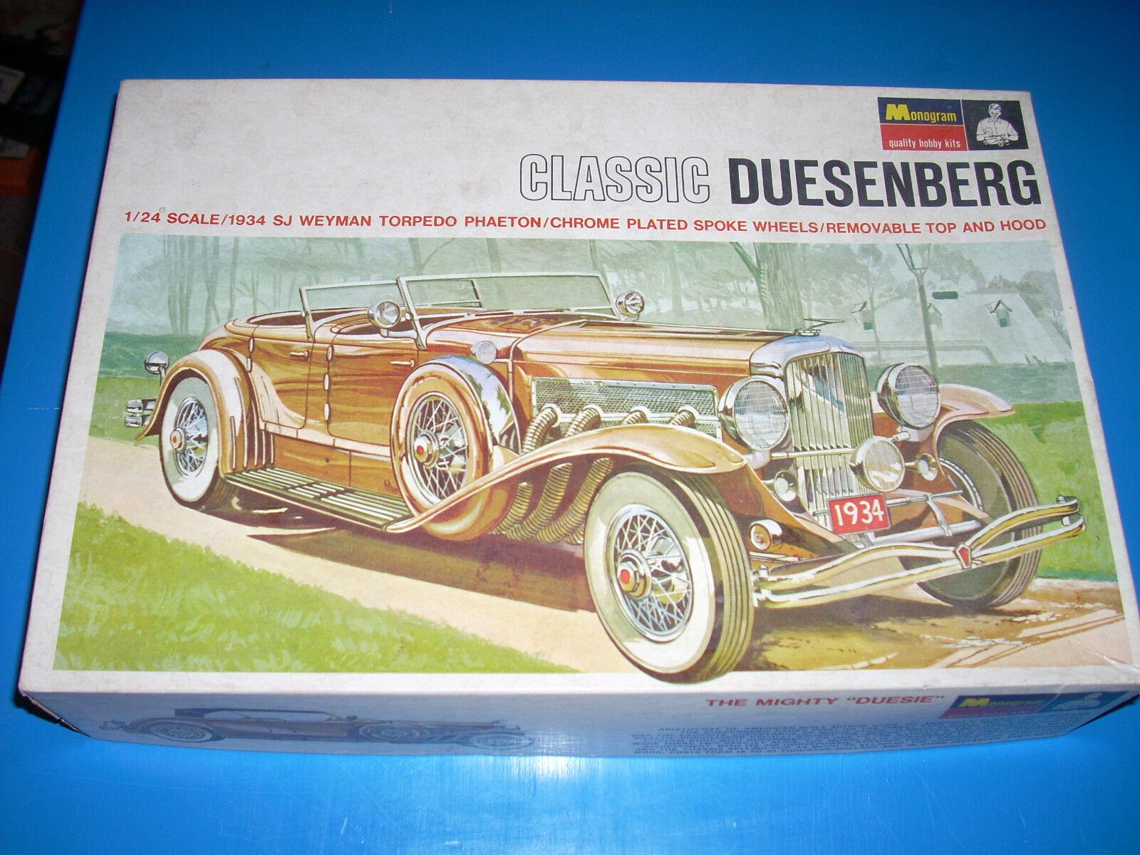Monogramm 1934 duesenberg 1   24 modell kit originalverpackt teilweise zusammengesetzten vg +