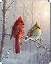 "79""x96"" Queen Sz Winter Glow Cardinal Bird Faux Mink Blanket Throw NEW"
