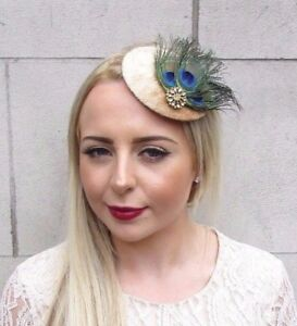 Gold-Green-Blue-Peacock-Feather-Pillbox-Hat-Fascinator-Hair-Clip-Races-Vtg-3953