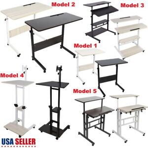 5-Model-Height-Adjustable-Computer-Mobile-Rolling-Desk-Laptop-Table-Bed-Stand-US