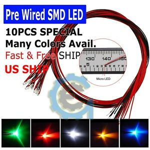 DC-9-12V-Pre-Wired-SMD-LED-Diode-0402-0603-0805-1206-Micro-Mini-White-Light-Lamp