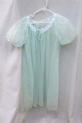 Vintage RADCLIFF SHEER Peignoir Robe Aqua Bombshell Sexy Sissy Womens M