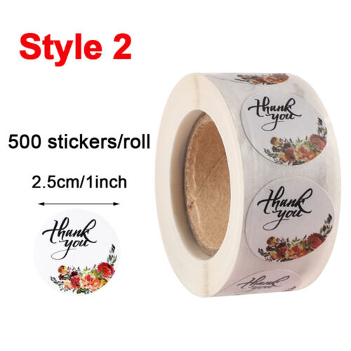 500Pcs//roll Christmas Kraft Handmade Stickers Thank You Label Sealing Supplies ~
