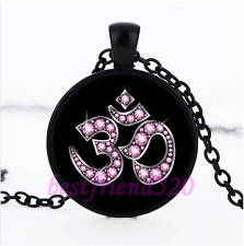 Pink OM Symbol Glass Pendant Black Necklace for man woman Jewelry#H33