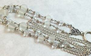 Frosty-White-Lanyard-Beaded-Badge-Holder-Silver-Chain-Lanyard-Breakaway-Opt