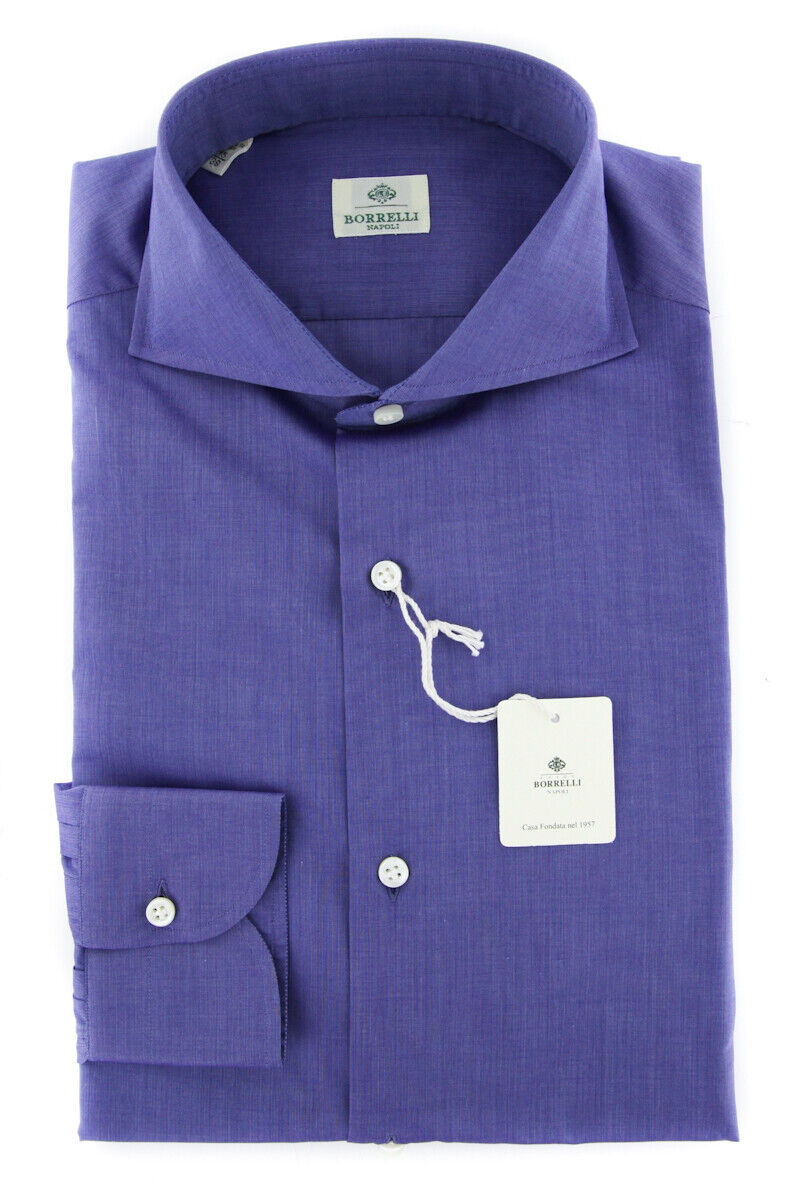 New  450 Luigi Borrelli Purple Shirt - Extra Slim - (EV061189NA35)