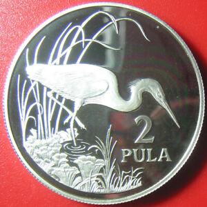 1986-BOTSWANA-2-PULA-84oz-SILVER-PROOF-SLATY-EGRET-CRANE-WILDLIFE-BIRD-WWF-38mm
