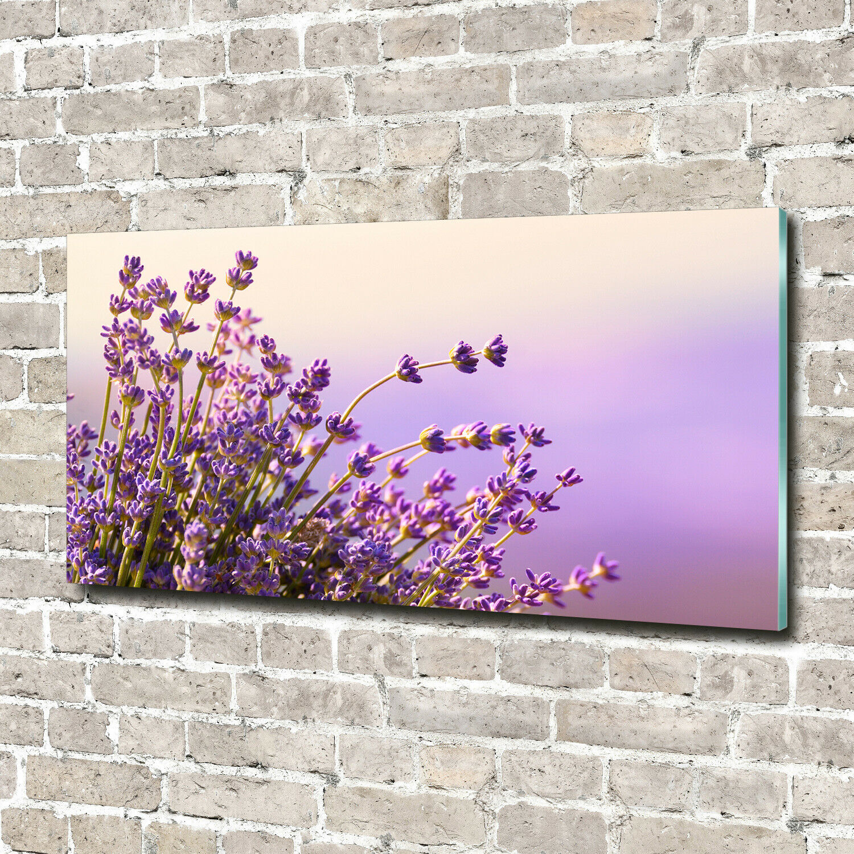 Wandbild aus Plexiglas® Druck auf Acryl 140x70 Blaumen & Pflanzen Lavendel