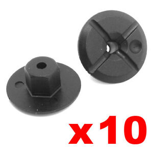 10-PLASTIC-UNTHREADED-NYLON-NUTS-4mm-HOLE-24mm-WIDE-LARGE-COLLAR-Mercedes-BMW