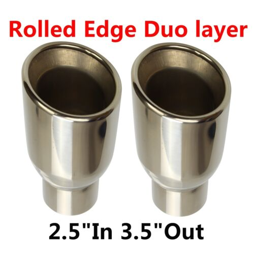 "2X Polished Stainless Rolled Edge Duo layer Slant Exhaust Tips 2.5/""In 3.5/""Out"