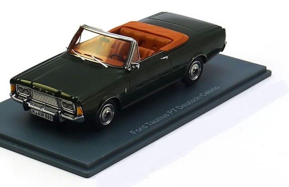 Ford taunus p7 26 m deutsch cabrio 1970 dunkelgrüne metall neo - 45905 1   43 roadster