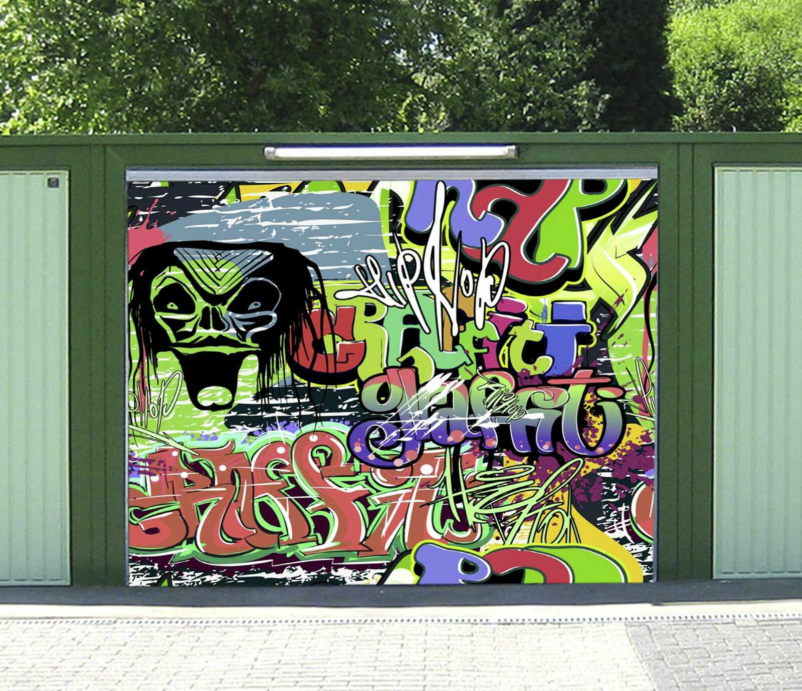 3D Graffiti Crâne Garage Door Murals Wall Print Decal Wall Deco AJ WALLPAPER FR