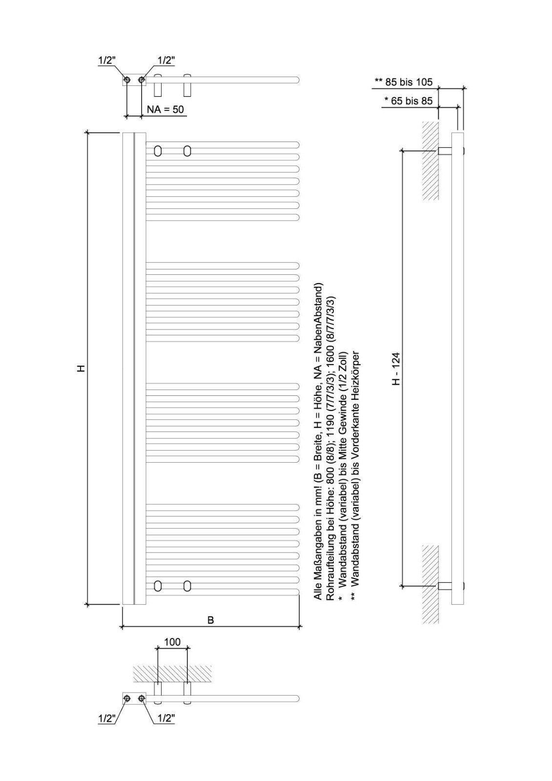 Ximax Design-Heizkörper Bad-Heizkörper Handtuchwärmer C5 119 x 60 x x x 4 cm 605W e9b4d5
