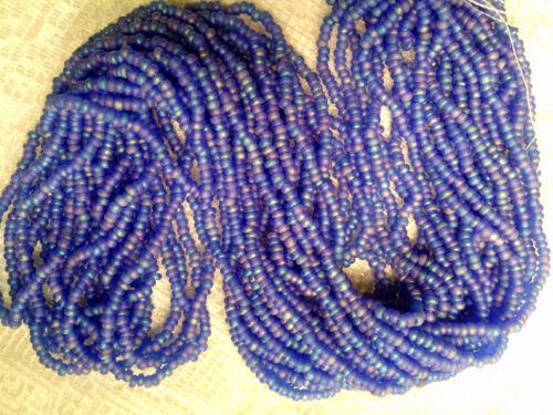 Vtg 1 HANK DENIM BLUE MIX MATTE GLASS SEED BEADS 10//0 CZECH #06112h