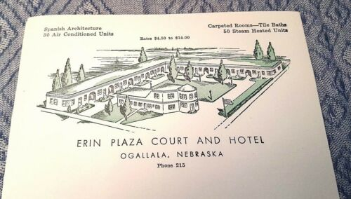 NEBRASKA 50 sheets of Vtg Erin Plaza Court Hotel Letterhead Stationery OGALLALA