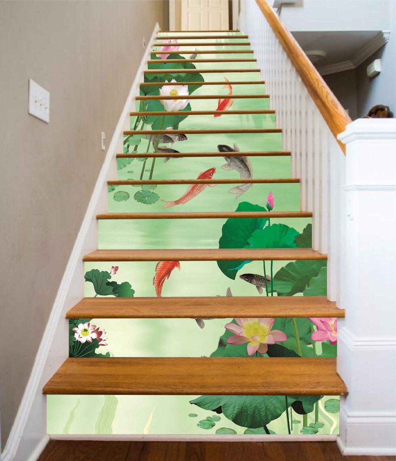 3D Pond fish 887 Stair Risers Decoration Photo Mural Vinyl Decal Wallpaper UK