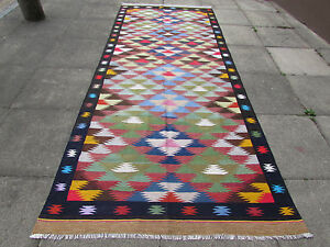Old-Traditional-Handmade-Persian-Oriental-Colourful-Wool-Cotton-Kilim-338x140cm
