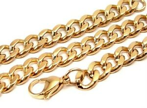 Men-039-s-Yellow-Gold-PVD-Curb-Chain-3-8-in-Links-24-inches-Heavy