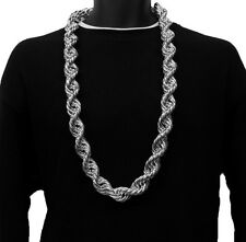 14k White Gold Plated 30in HEAVY RUN DMC 20MM Hip Hop Rope Chain Necklace