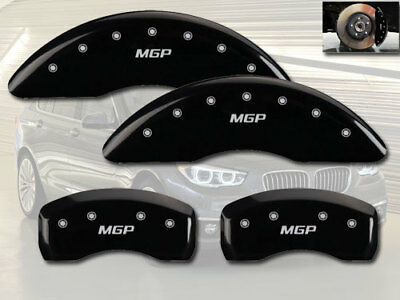 Set of 4 MGP Caliper Covers 25085SMGPBK MGP Engraved Caliper Cover with Black Powder Coat Finish and Silver Characters,