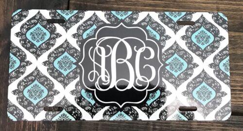 Monogram License Plate Black Paisley Car Black Blue Tag New Monogram Car Tag