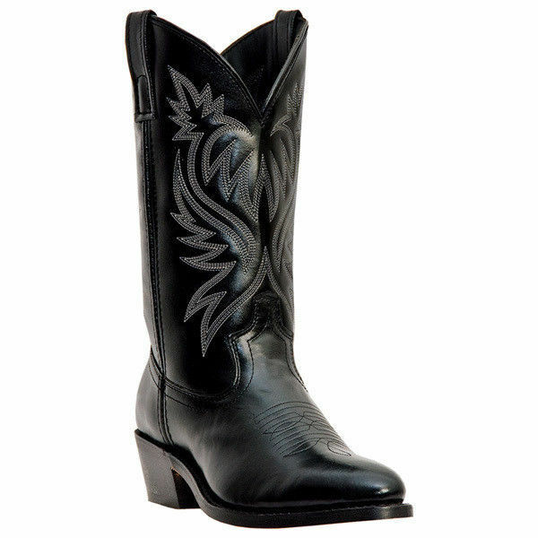 Laredo 4210  Men London Black Leather R Toe Cowboy Western Boot