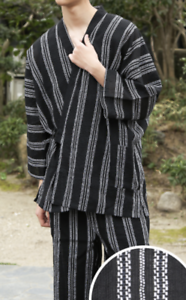 Japanese SAMUE Men Traditional work Kimono wear Topps Pants Black Stripe 8 JAPAN