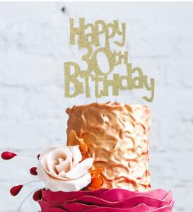 Das Bild Wird Geladen Happy 30th Birthday Cake Topper Glitzer Gold