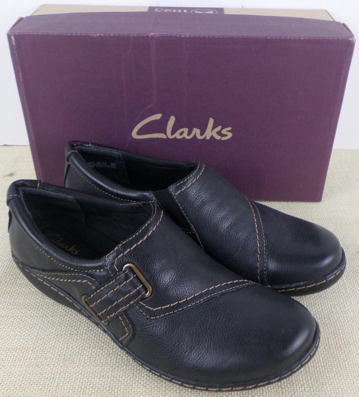 CLARKS 01707 ASHLAND blueSH WOMEN'S BLACK LEATHER SLIP ON SHOES NEW IN BOX