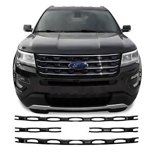 Image Is Loading 4pc Black Abs Grille Grill Overlay Fits 2016