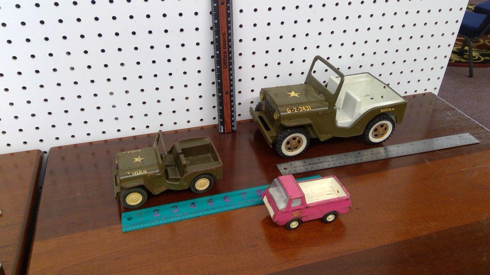 hasta 60% de descuento Lote de 3 3 3 vehículos temprano Tonka Acero Prensado. Original Jeep & camión.  envio rapido a ti