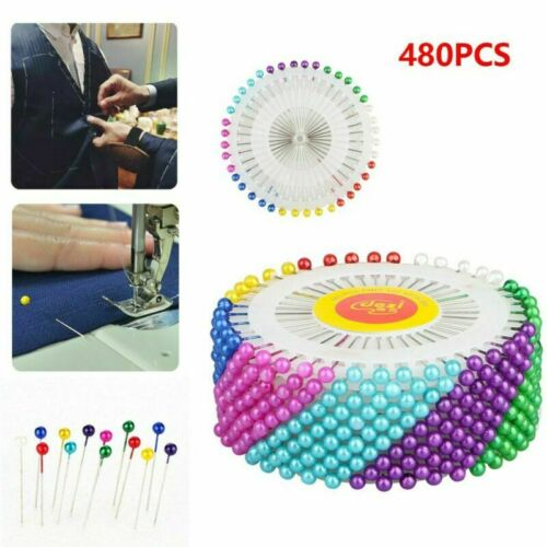 480-pieces Straight Pins w// Pearlized Ball Head for Sewing Quilting Decoration